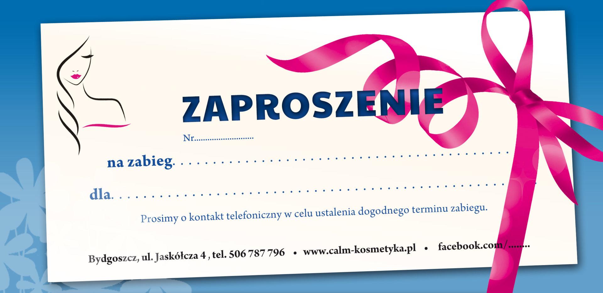 zaproszenie voucher salon kosmetyczny bydgoszcz kosmetyczka Monika Sulecka